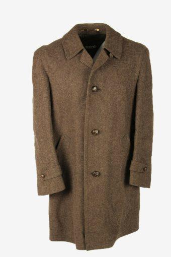 Wool Vintage Coat Jacket Casual Warm Winter Coat Brown Size XL