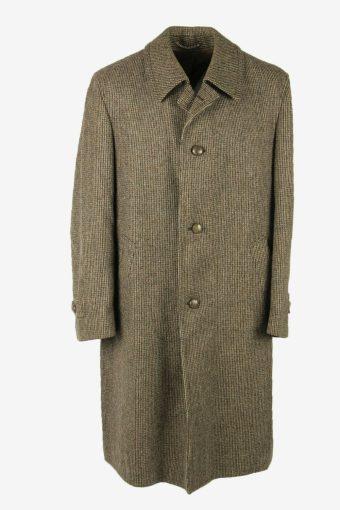 Wool Vintage Overcoat Coat Jacket Casual Winter Coat Beige Size XXL