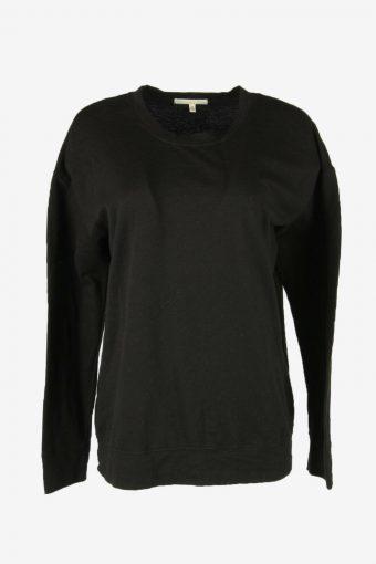 90s Sweatshirt Plain Vintage Pullover Sports Retro Black Size M
