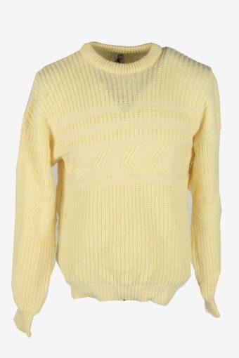 Aran Cable Knit Jumper Vintage Crew Neck Pullover 90s Cream Size XL