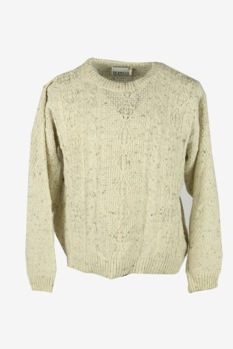 Aran Vintage Wool Jumper Cable Knit Crew Neck Pullover 90s White Size M