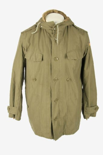 Army Military  Vintage Parka Coat Jacket German Flag Hooded Khaki Size M