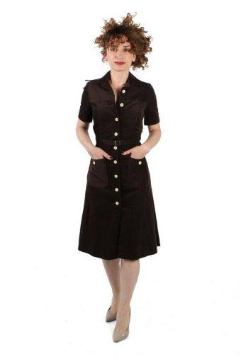 Brown Corduroy Short Folded Sleeve Button-up Midi Dress