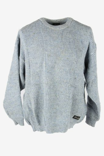 Cable Knit Jumper Aran Vintage Crew Neck Pullover 90s Blue Size XL
