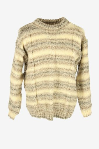 Cable Knit Wool Jumper Vintage Crew Neck Pullover 90s Multi Size L
