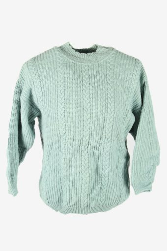 Cable Knit Wool Jumper Vintage Crew Neck Pullover 90s Turquoise Size M – IL2663
