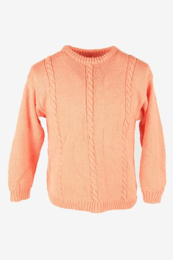 Cable Knit Wool Jumper Vintage Crew Neck Warm Pullover 90s Pink Size L