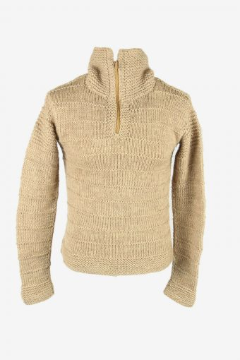 Cable Knit Wool Jumper Vintage Turtle Neck Zip Pullover 90s Beige Size S