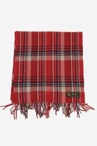 Cashmere Check Tartan Scarf Vintage Tassel Plaid Warm 90s Retro Red