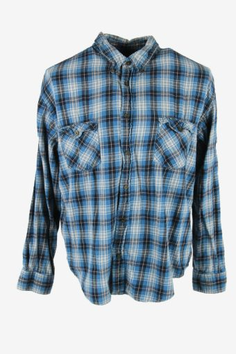 Flannel Shirt Vintage Check Long Sleeve Button 90s Cotton Blue Size XL