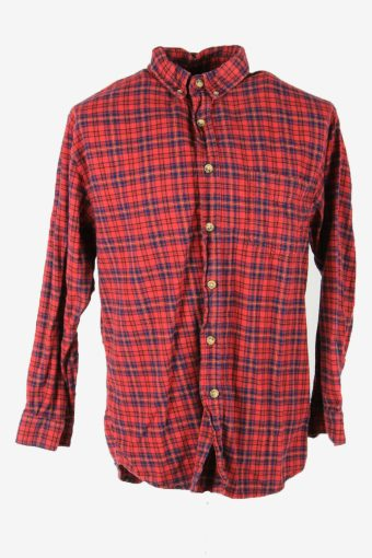 Flannel Shirt Vintage Check Long Sleeve Button 90s Cotton Red Size L