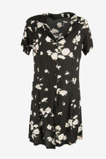 Flowers  Print Dress Midi Dress Short Sleeve Collared Black Size XL