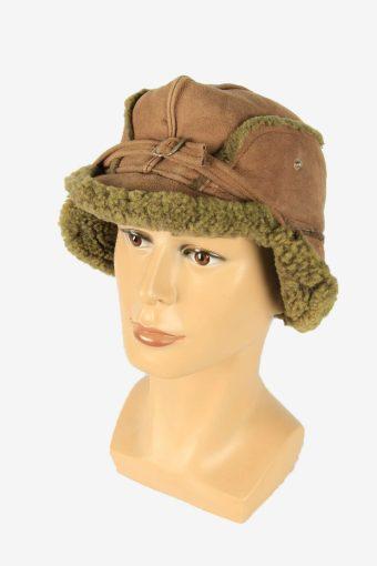 Fur Suede Cap Hat Vintage Earflaps Ski Cossack 90s Brown Size 56 cm