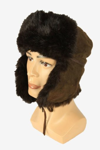 Fur Ushanka Hat Vintage Earflaps Ski Cossack 90s Brown Size 54 cm