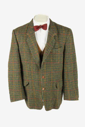 Harris Tweed Vintage Blazer Jacket Windowpane Country Green Size XL