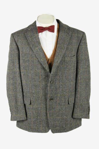 Harris Tweed Vintage Blazer Jacket Windowpane Country  Grey Size XL