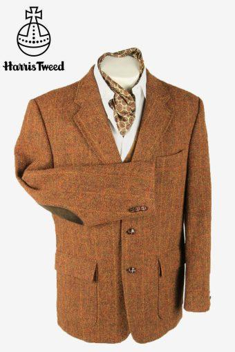 Harris Tweed Vintage Blazer Jacket Windowpane Elbowpatch Brown Size XL