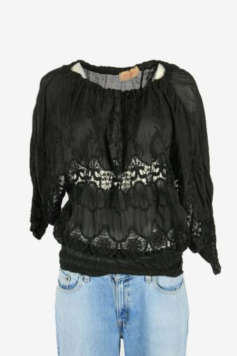 Hippie Gypsy Embroidered Blouse Tunic Top Vintage Kaftan Black Size M