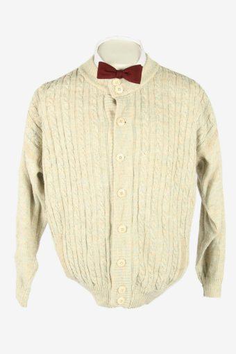 Knit Cardigan Vintage Crew neck Pocket Soft Button Up 90s Beige Size L