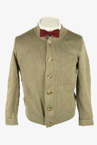 Knit Cardigan Vintage Crew neck Pocket Soft Button Up 90s Khaki Size S