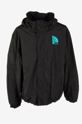 Lands End Vintage Outdoor Jacket Lined Hooded Pockets Black Size XL