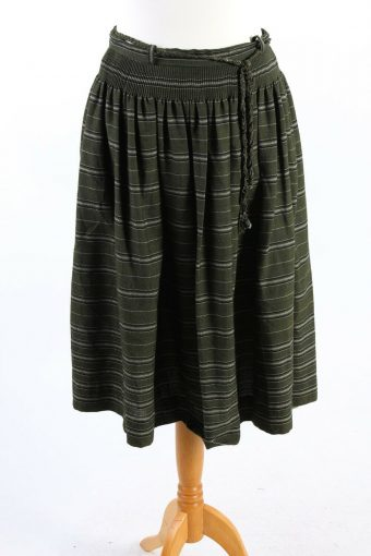 Long Striped Skirt Lined With Smart Belt 90s Fashion Vintage Green