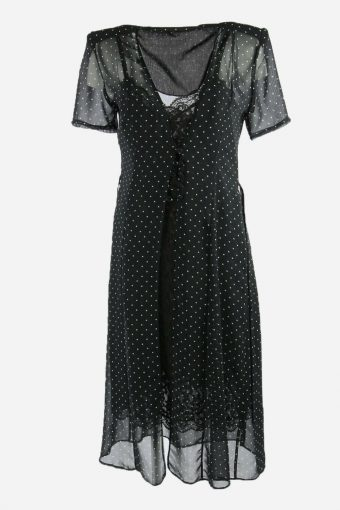 Vintage 2 Pcs Polka Dot Dress Transparent Design Midi Women Black Size M DR112
