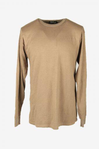 Vintage 90s Sweatshirt Plain Pullover Sports Retro Beige Size M