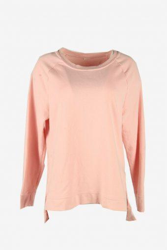 Vintage 90s Sweatshirt Plain Pullover Sports Retro Pink Size L
