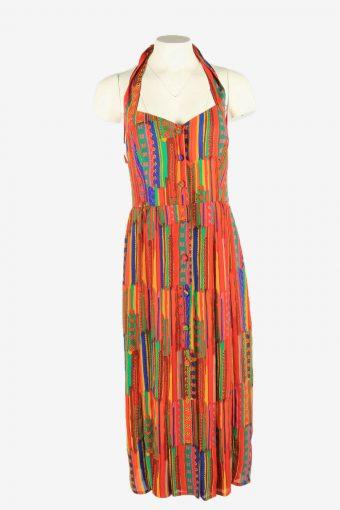 Vintage Colorfull Fit&Flare Dress Sleeveless Halter Strap  Multi Size L
