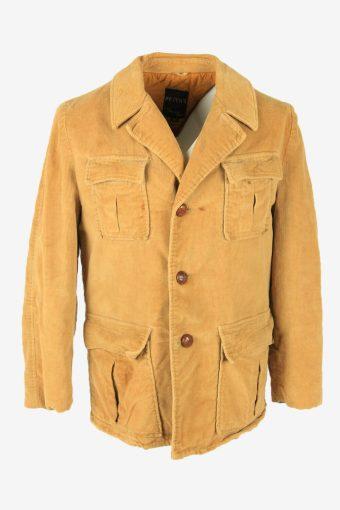 Vintage Corduroy Coat Jacket Lined Pockets Casual 90s Camel Size M