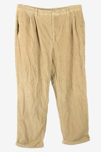 Vintage Corduroy Cord Trousers Relaxed Fit Casual Cream Size W36 L30