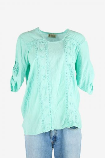 Vintage Embroidered Hippie Gypsy Blouse Tunic Top Kaftan Turquoise Size L