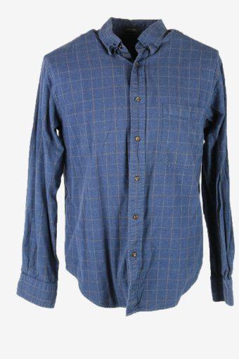 Vintage Flannel Shirt Check Long Sleeve Button 90s Cotton Blue Size M