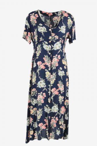 Vintage Floral Fit & Flare Dress Short Sleeve V Neck Retro Navy Size XL