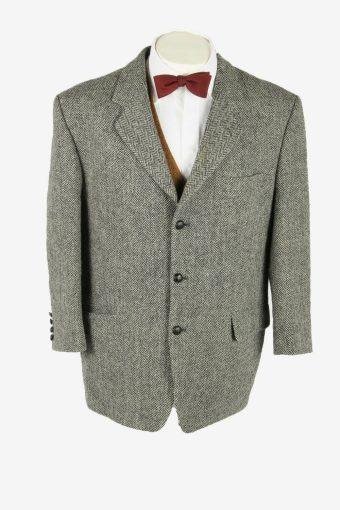 Vintage Harris Tweed Blazer Jacket Herringbone Weave Grey Size XL