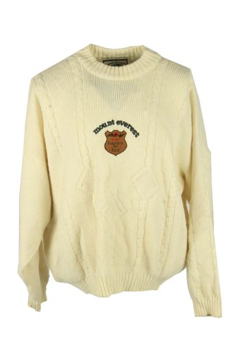 Vintage Jumper Cable Knit Crew Neck Pullover Winter 90s Cream Size XL