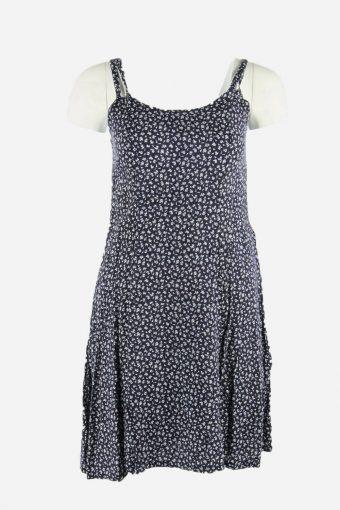 Vintage Mini Sleeveless Dress Scoop Neck Floral 90s Women Navy Size M DR074