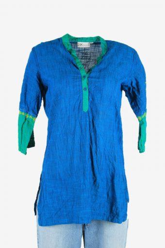 Vintage Plain Hippie Gypsy Blouse Tunic Top Kaftan Blue Size M