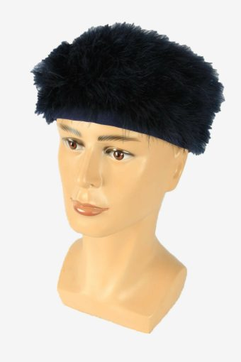 Vintage Russian Style Fur Hat Cossacks Winter Warm Navy Size 52 cm