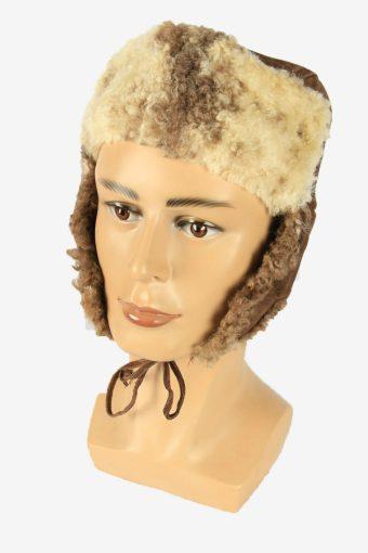Vintage Russian Style Fur Hat Earflaps Winter Warm Brown Size 56 cm