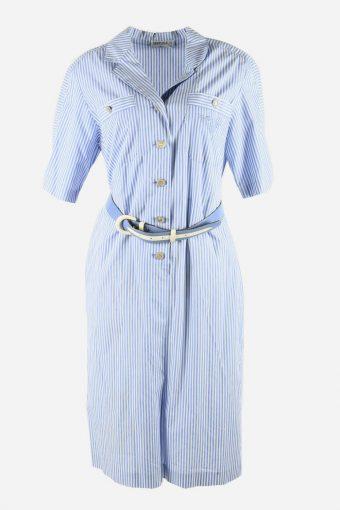 Vintage Shirt Dress Collared With Belt 90s Midi Women Blue Size XL