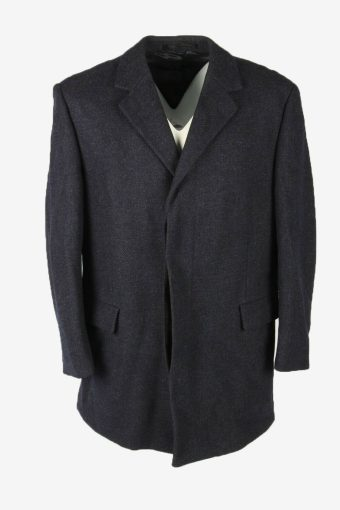 Vintage Wool Coat Jacket Classic Suit Winter Coat 90s Navy Size L