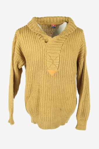 Vintage Jumper Cable Knit Shawl Neck Pullover 90s Golden Size L