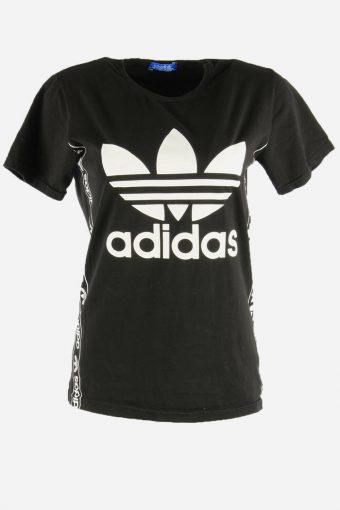Women Adidas T-Shirt Tee Short Sleeve Sports 90s Retro Black Size XL