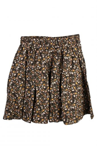 Womens Floral Skirt Rockabilly Evening Party Skater Swing Brown