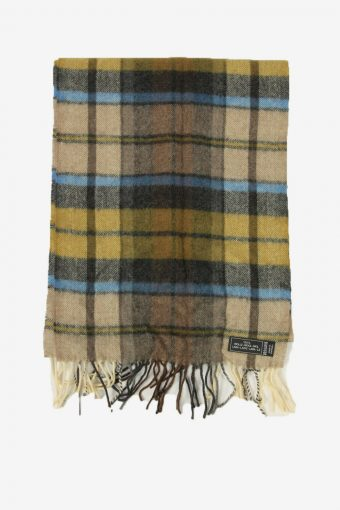 Wool Tartan Scarf  Vintage Check Tassel Soft Winter 90s Retro Multi