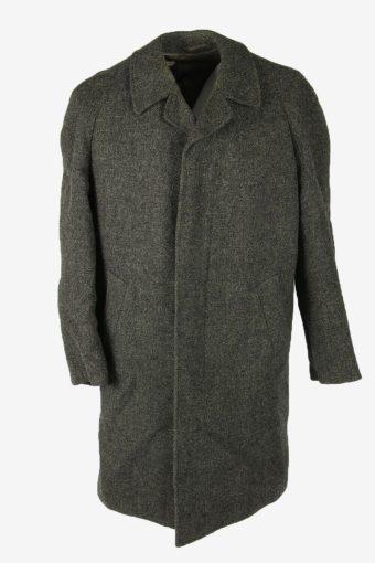 Wool Vintage Coat Jacket Casual Winter Warm Blend Lined Grey Size L