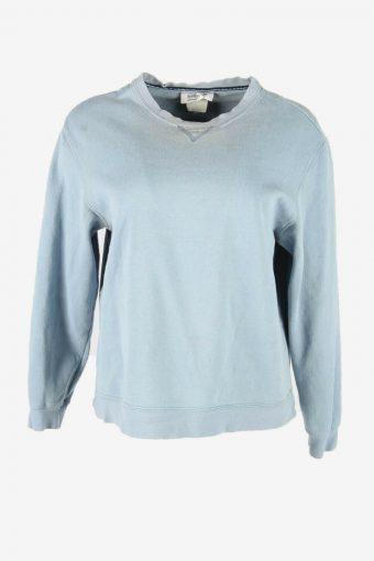 90s Sweatshirt Plain Vintage Pullover Sports Retro Blue Size M