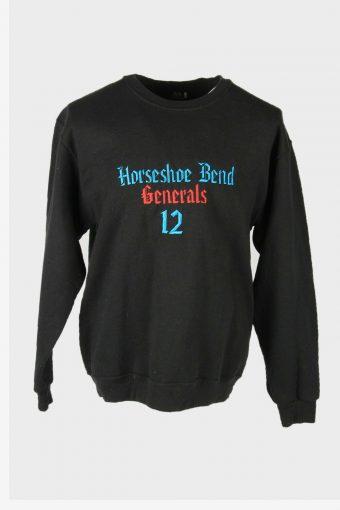 90s Sweatshirt Printed Vintage Pullover Sports Retro Black Size L